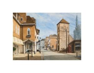 Burgate Street, Canterbury, Kent, Watercolour Painting, Alan Percy Walker