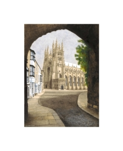 Canterbury Cathedral view through Christ Church Gate, Kent, Watercolour Painting, Alan Percy Walker