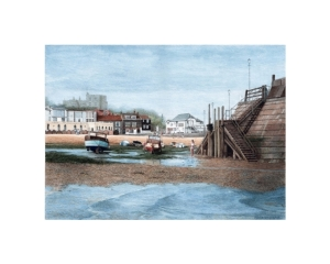 Girl in the Harbour, Broadstairs, Kent, Watercolour Painting, Alan Percy Walker