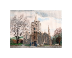 Parish Church, Dover, Kent, Watercolour Painting, Alan Percy Walker