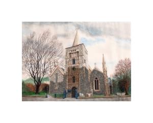 Parish Church, Dover, Kent, Watercolour Painting, Alan Percy Walker