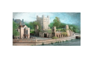 Rochester Castle, Kent, Watercolour Painting, Alan Percy Walker