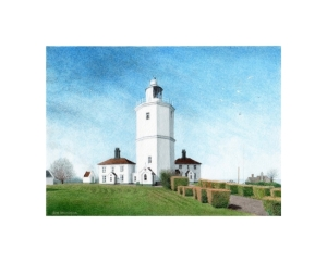 The Lighthouse at North Forelands, Kent, Watercolour Painting, Alan Percy Walker