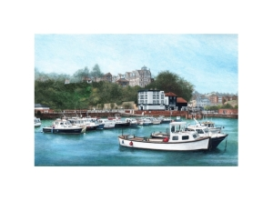 Folkestone Harbour, Kent, Watercolour Painting, Alan Percy Walker